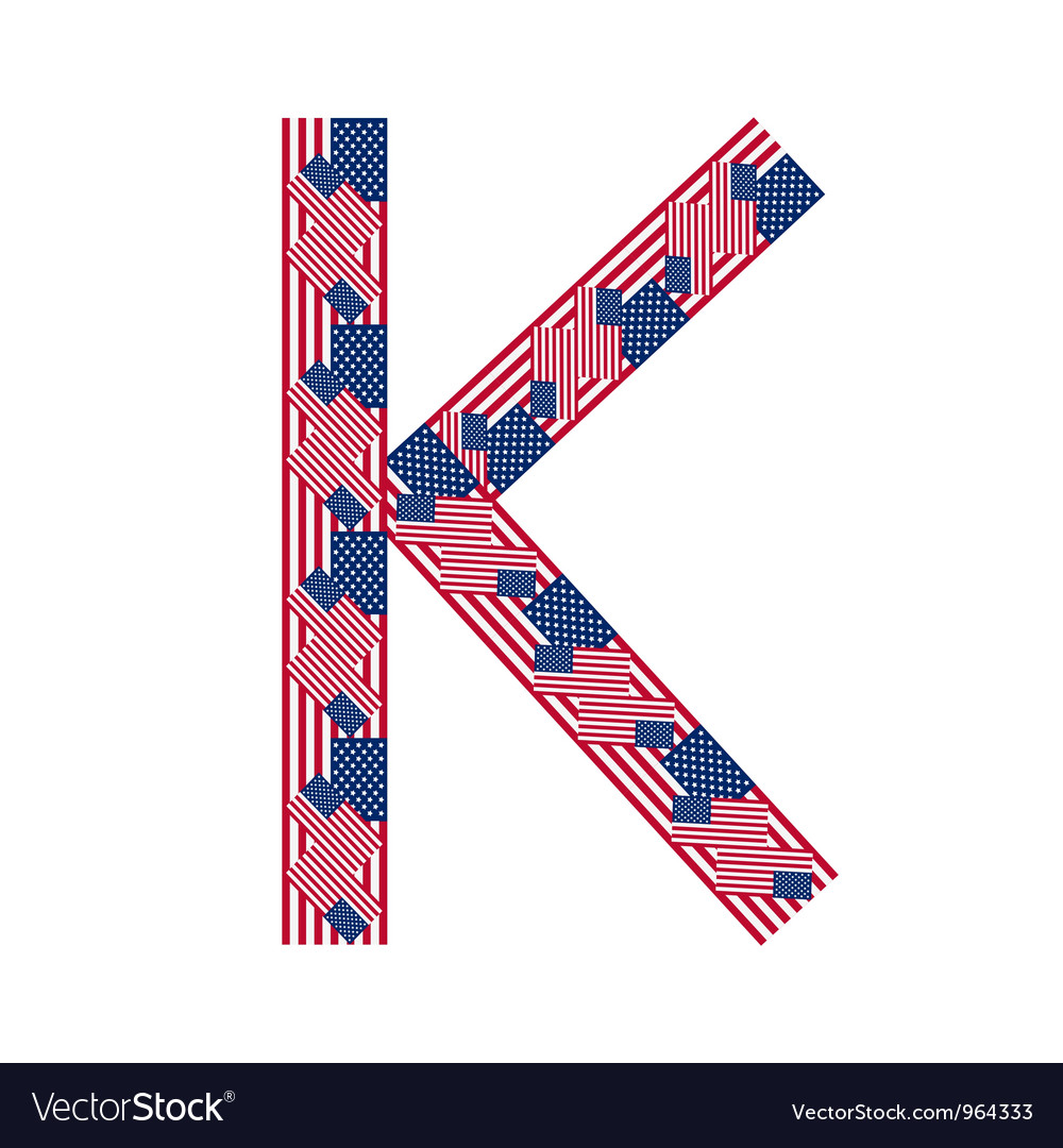 Letter k made of usa flags vector | Price: 1 Credit (USD $1)