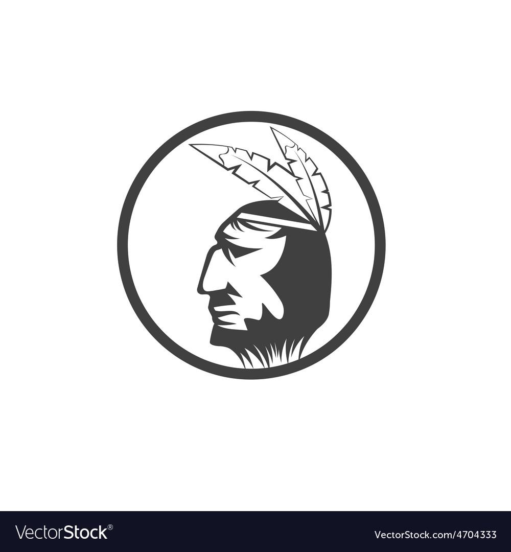 Native american chief man in tribal headdress vector   Price: 1 Credit (USD $1)