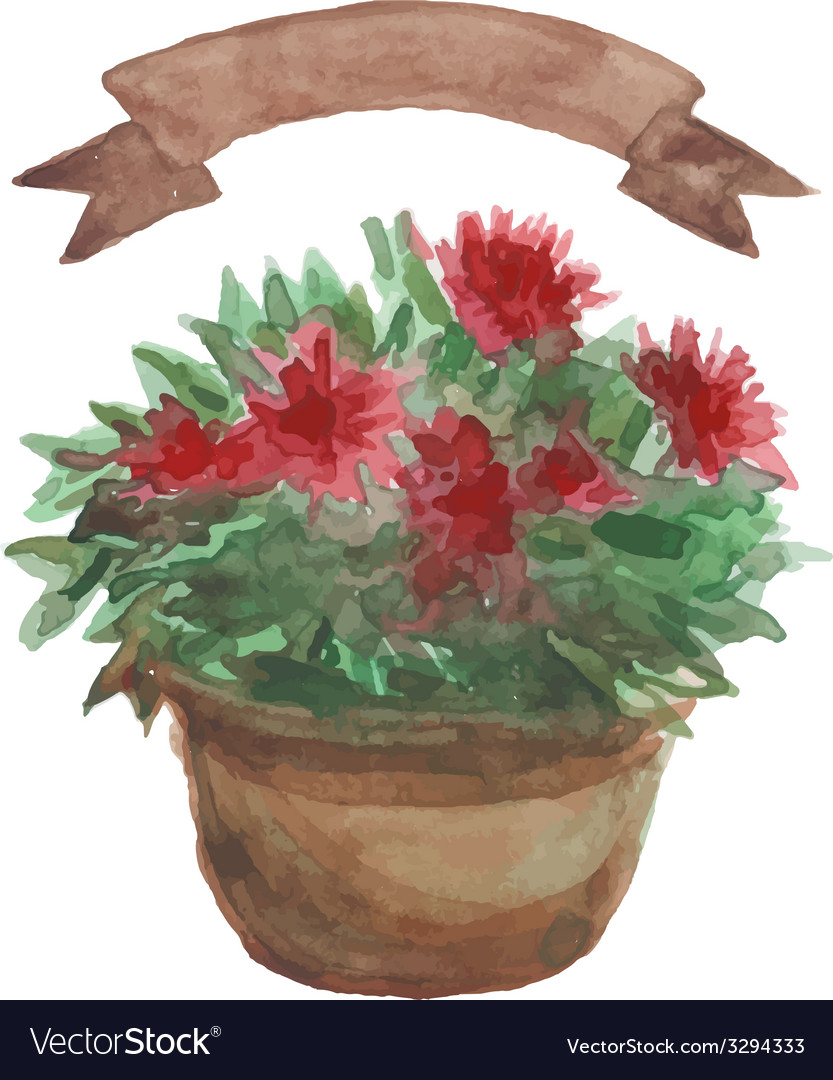 Red flower in a flowerpot beige ribbon set on vector   Price: 1 Credit (USD $1)