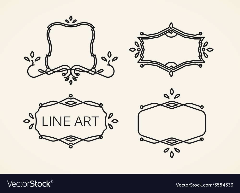 Set of floral monogram frames line art elements vector | Price: 1 Credit (USD $1)