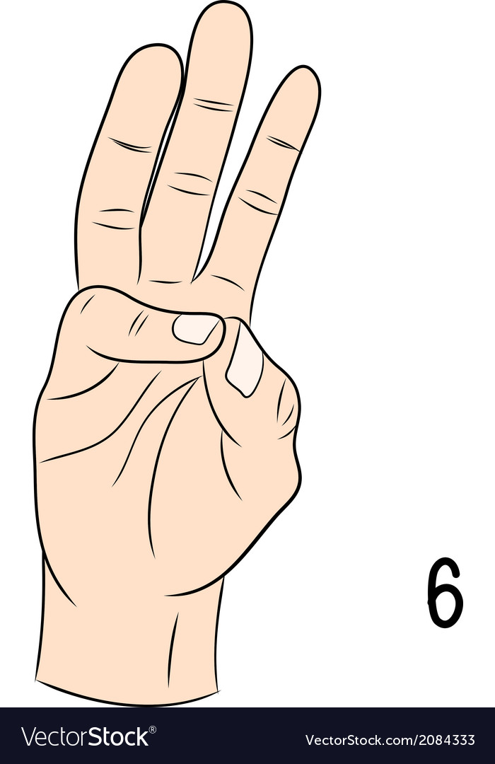 Sign language number 6 vector | Price: 1 Credit (USD $1)