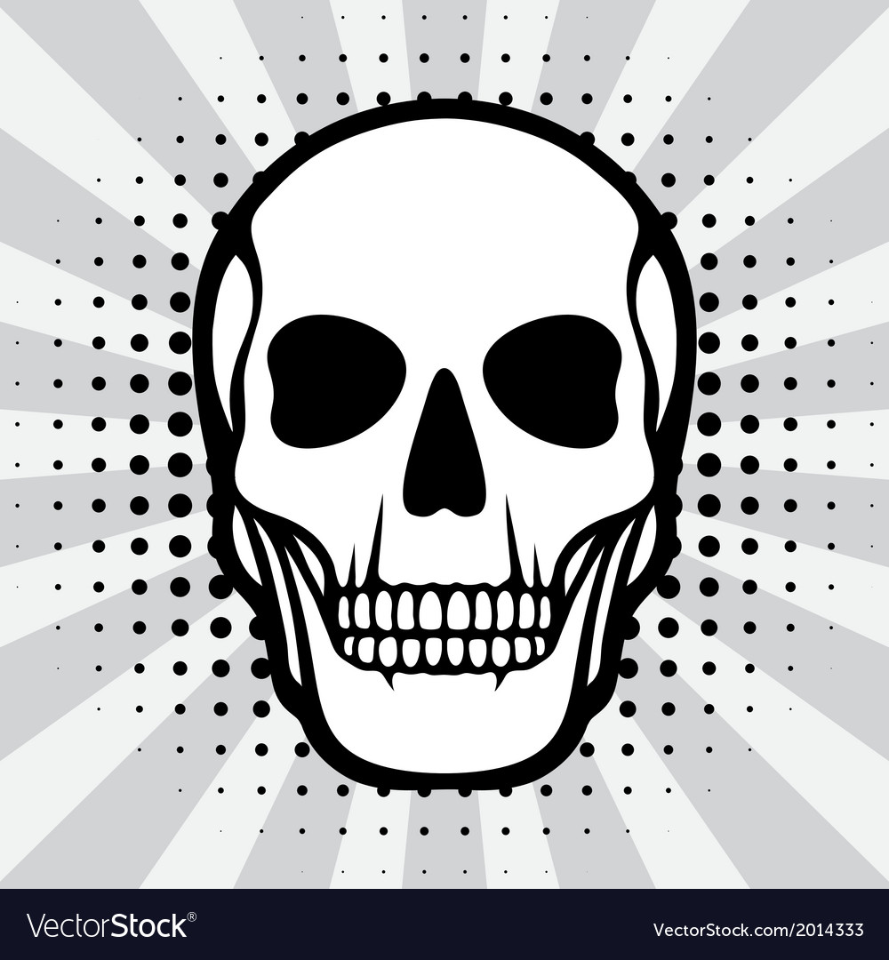 Skull on pop art background vector | Price: 1 Credit (USD $1)