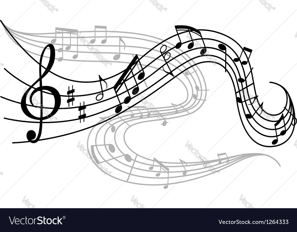 Waves of musical notes vector | Price: 1 Credit (USD $1)