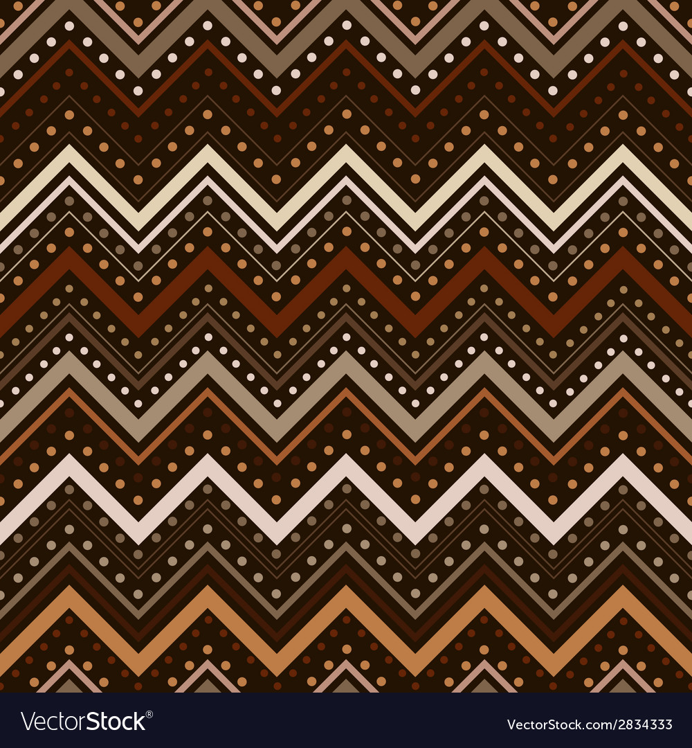 Zig zag pattern with lines and dots in brown tones vector | Price: 1 Credit (USD $1)
