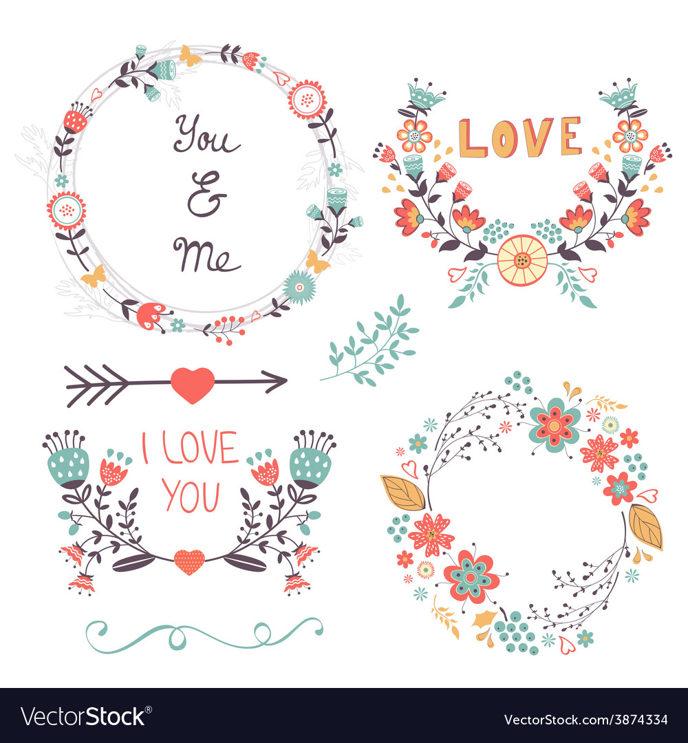 Beautiful romantic collection vector | Price: 1 Credit (USD $1)