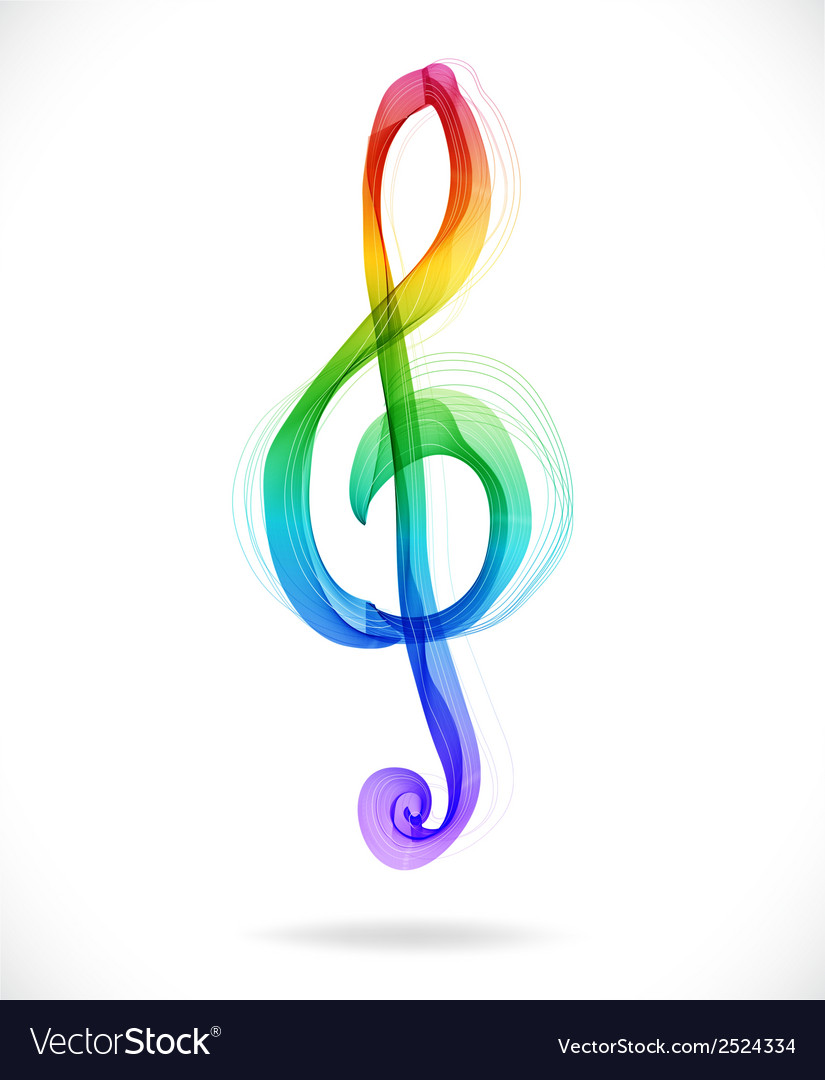 Color abstract treble clef vector | Price: 1 Credit (USD $1)
