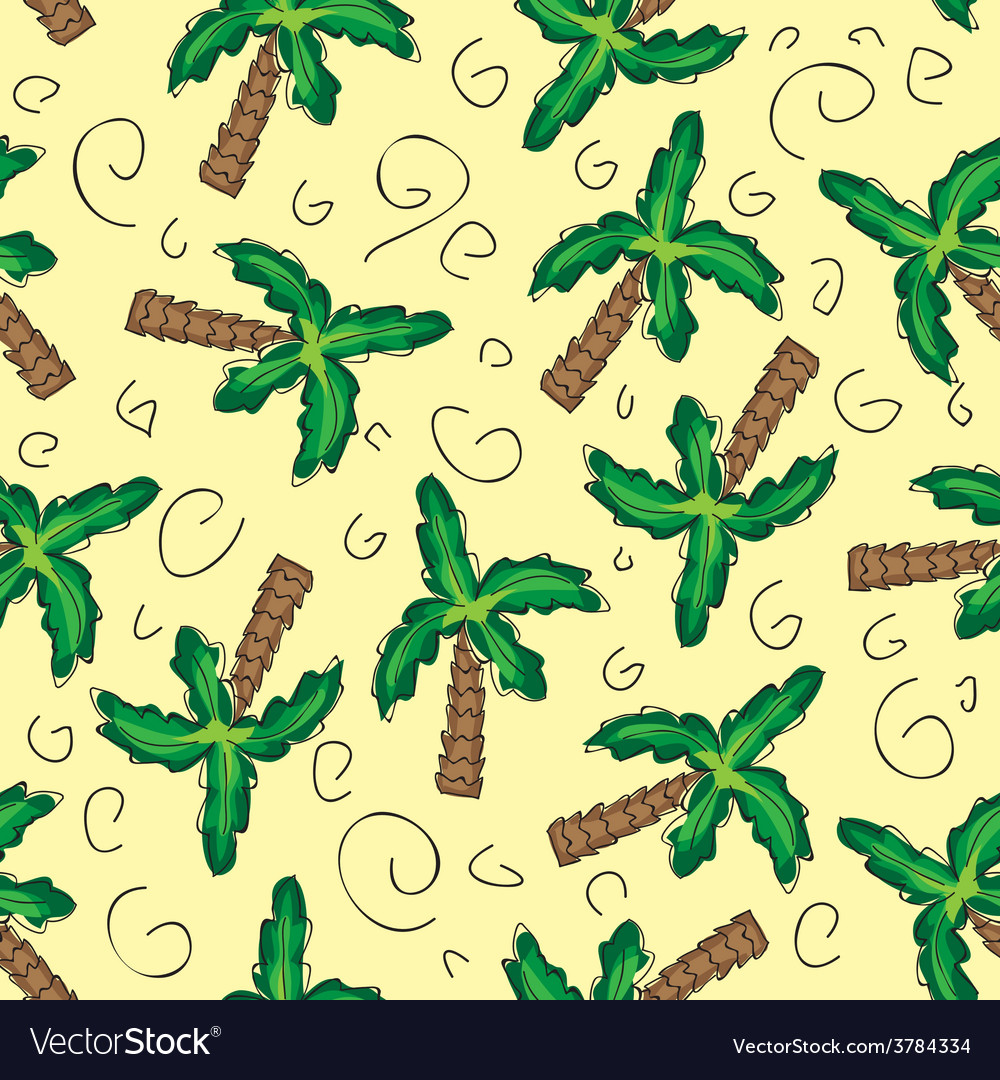 Green palm trees seamless pattern vector   Price: 1 Credit (USD $1)