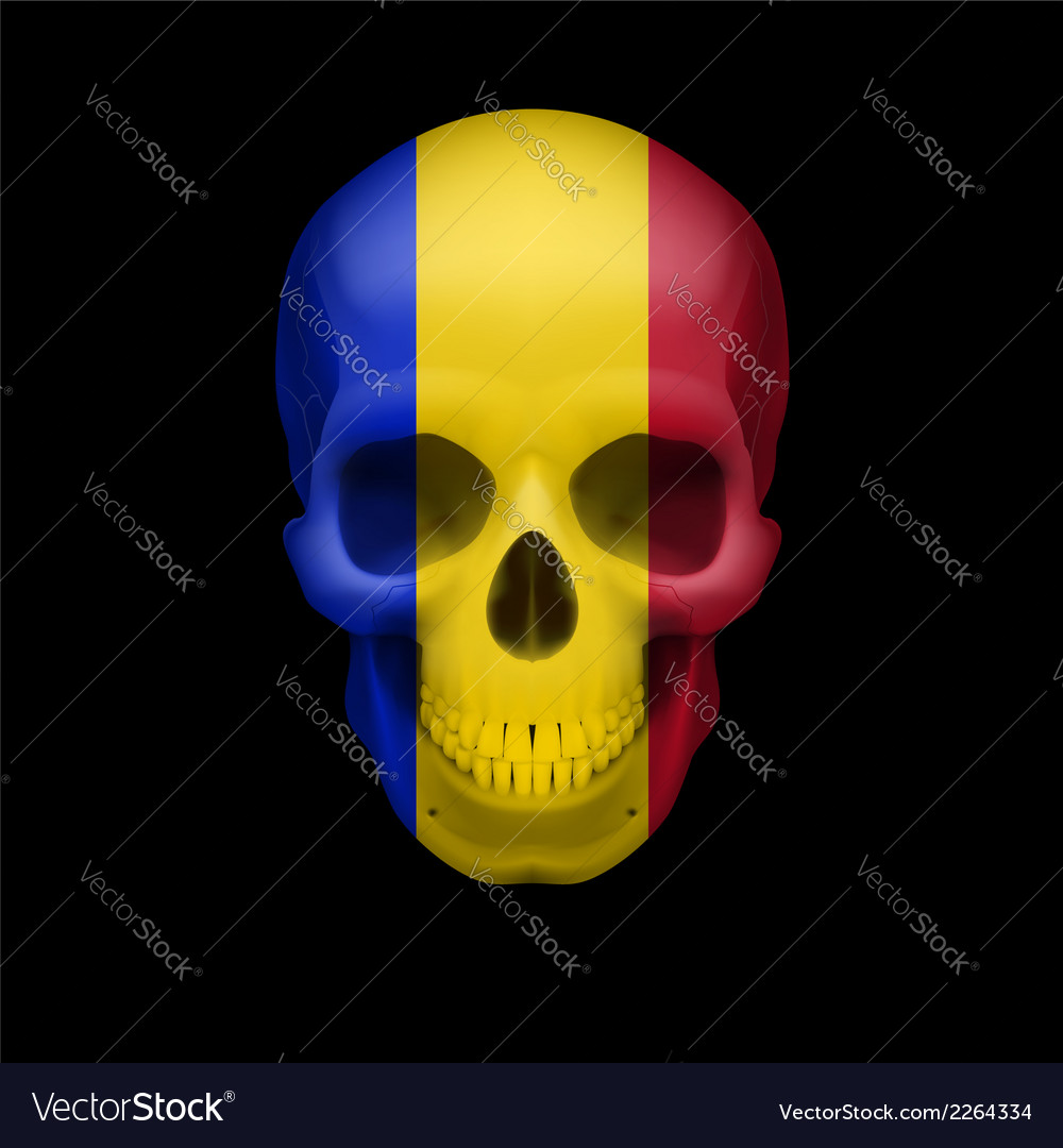 Romanian flag skull vector | Price: 1 Credit (USD $1)