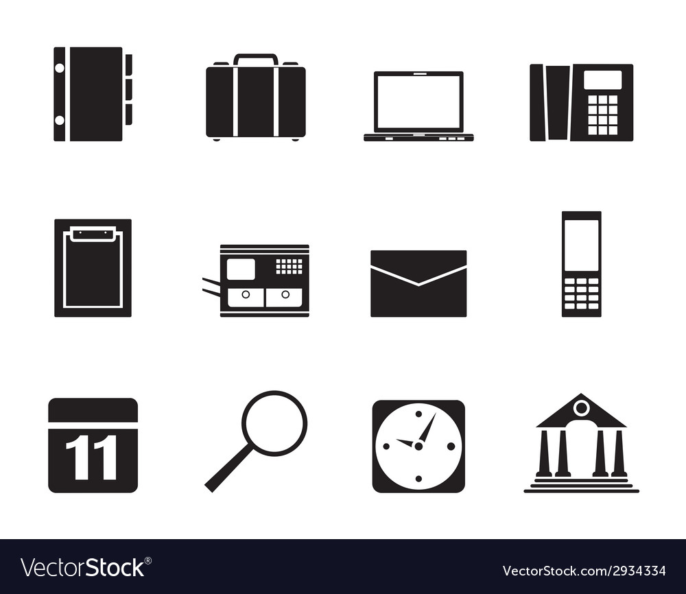 Silhouette business and mobile phone icons vector | Price: 1 Credit (USD $1)