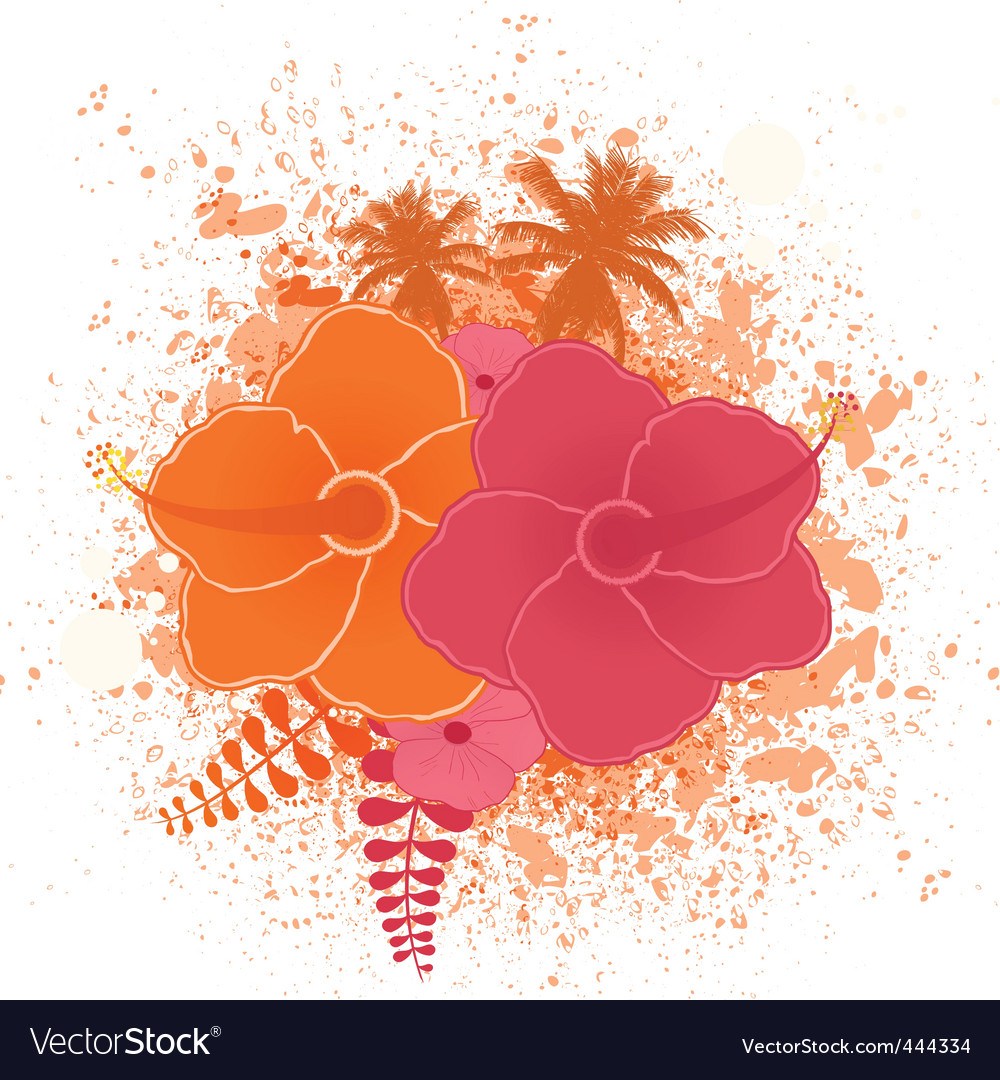 Tropical flower grunge vector | Price: 1 Credit (USD $1)