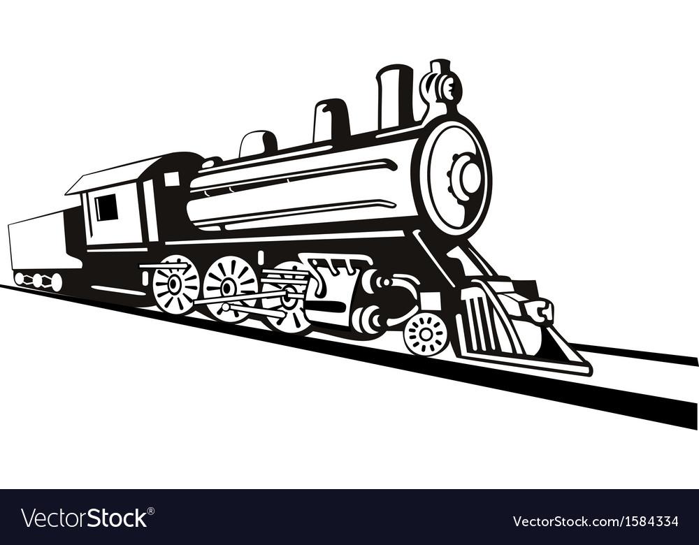 Vintage train retro side view vector | Price: 1 Credit (USD $1)