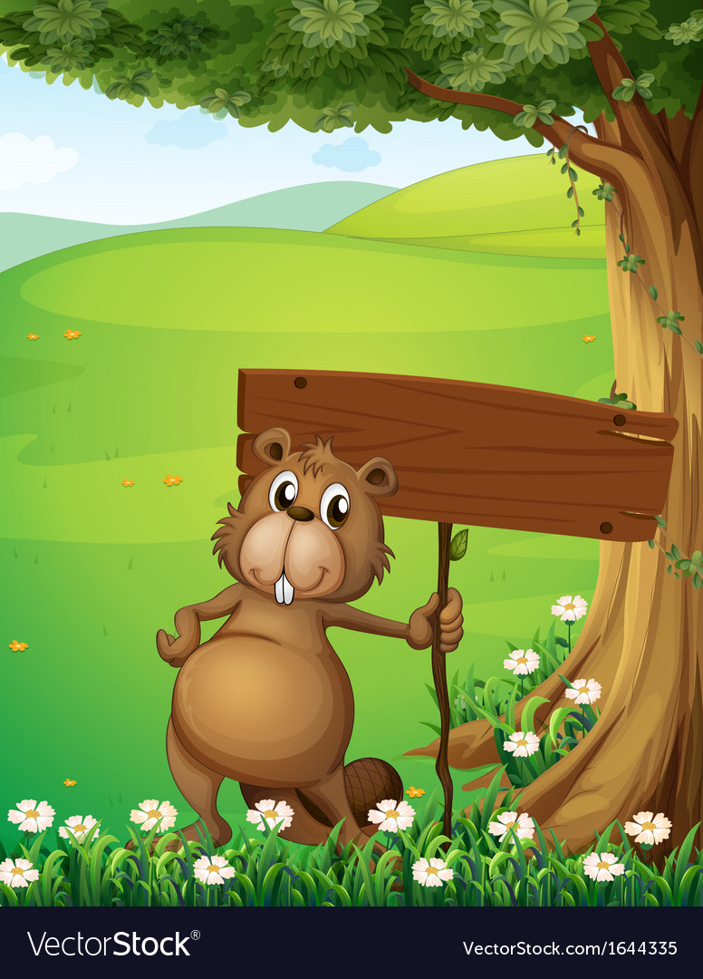 A beaver standing under the tree with an empty vector   Price: 3 Credit (USD $3)
