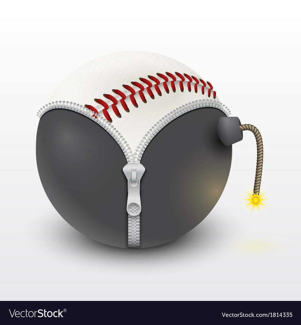 Baseball leather ball inside a burning bomb vector | Price: 1 Credit (USD $1)