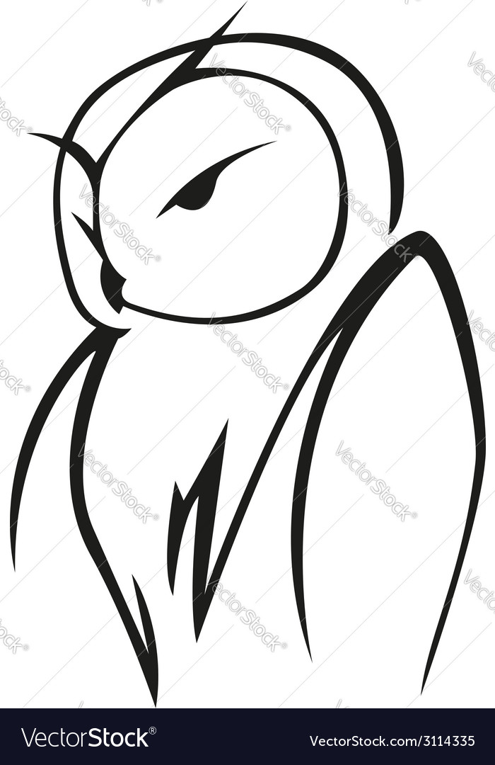 Doodle sketch of an owl vector | Price: 1 Credit (USD $1)