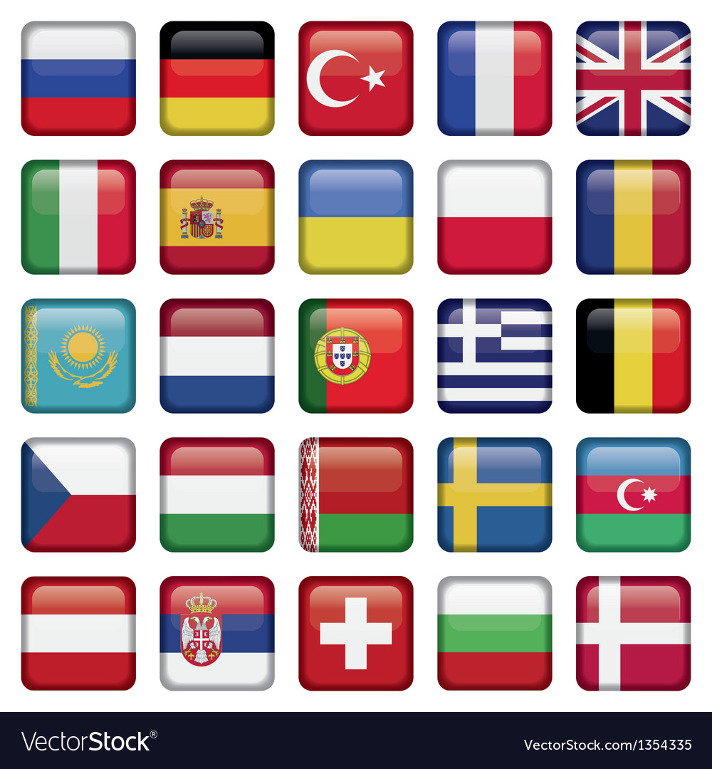 Europe icons squared flags vector | Price: 1 Credit (USD $1)