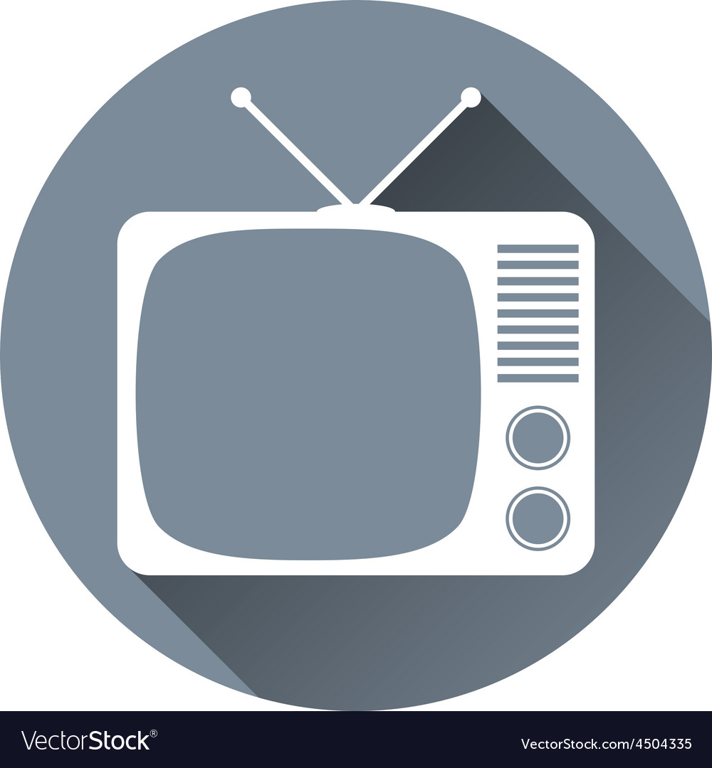 Hipster tv set icon flat design style circle frame vector   Price: 1 Credit (USD $1)