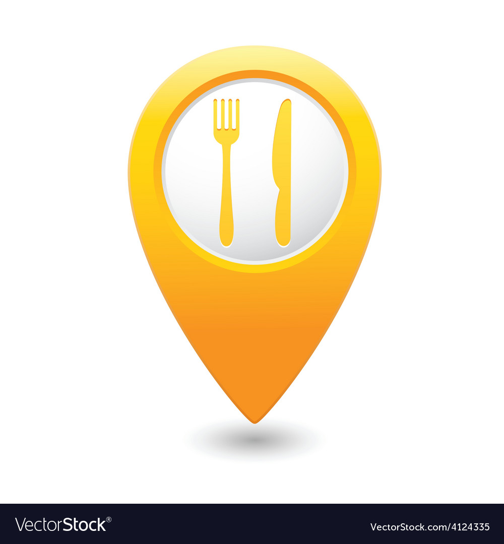 Knife and fork2 map pointer yellow vector | Price: 1 Credit (USD $1)