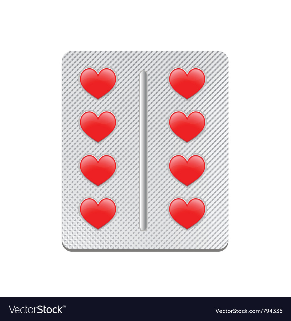 Packaging of heart tablets vector | Price: 1 Credit (USD $1)