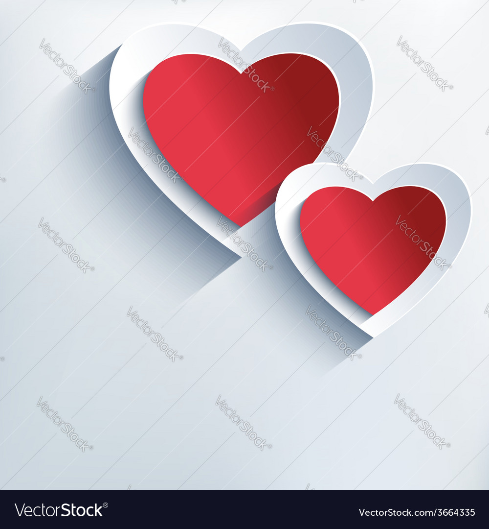 Romantic background with red grey paper 3d hearts vector | Price: 1 Credit (USD $1)