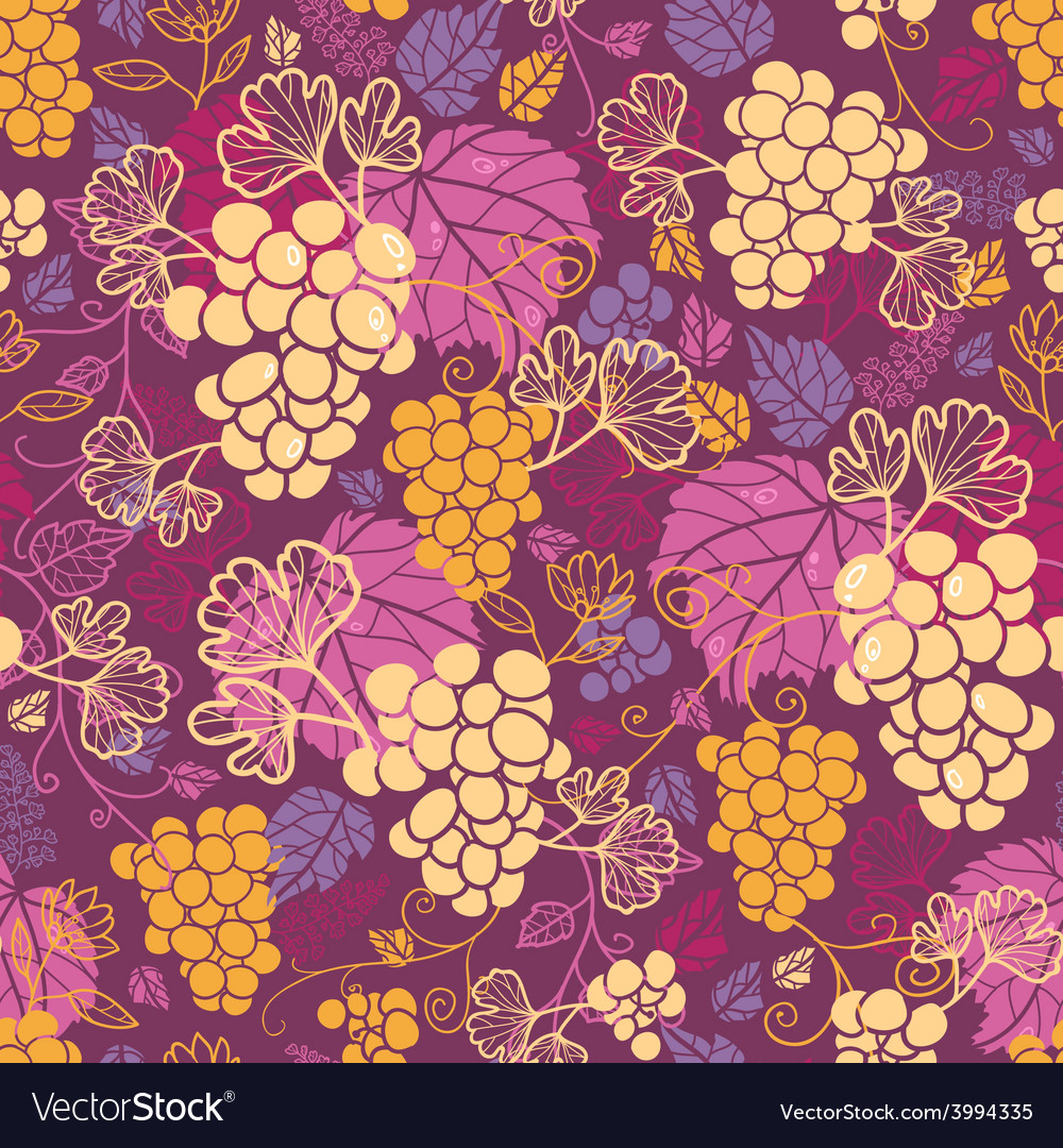 Sweet grape vines seamless pattern background vector | Price: 1 Credit (USD $1)