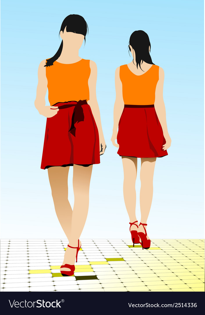 Al 0202 two girs vector | Price: 1 Credit (USD $1)
