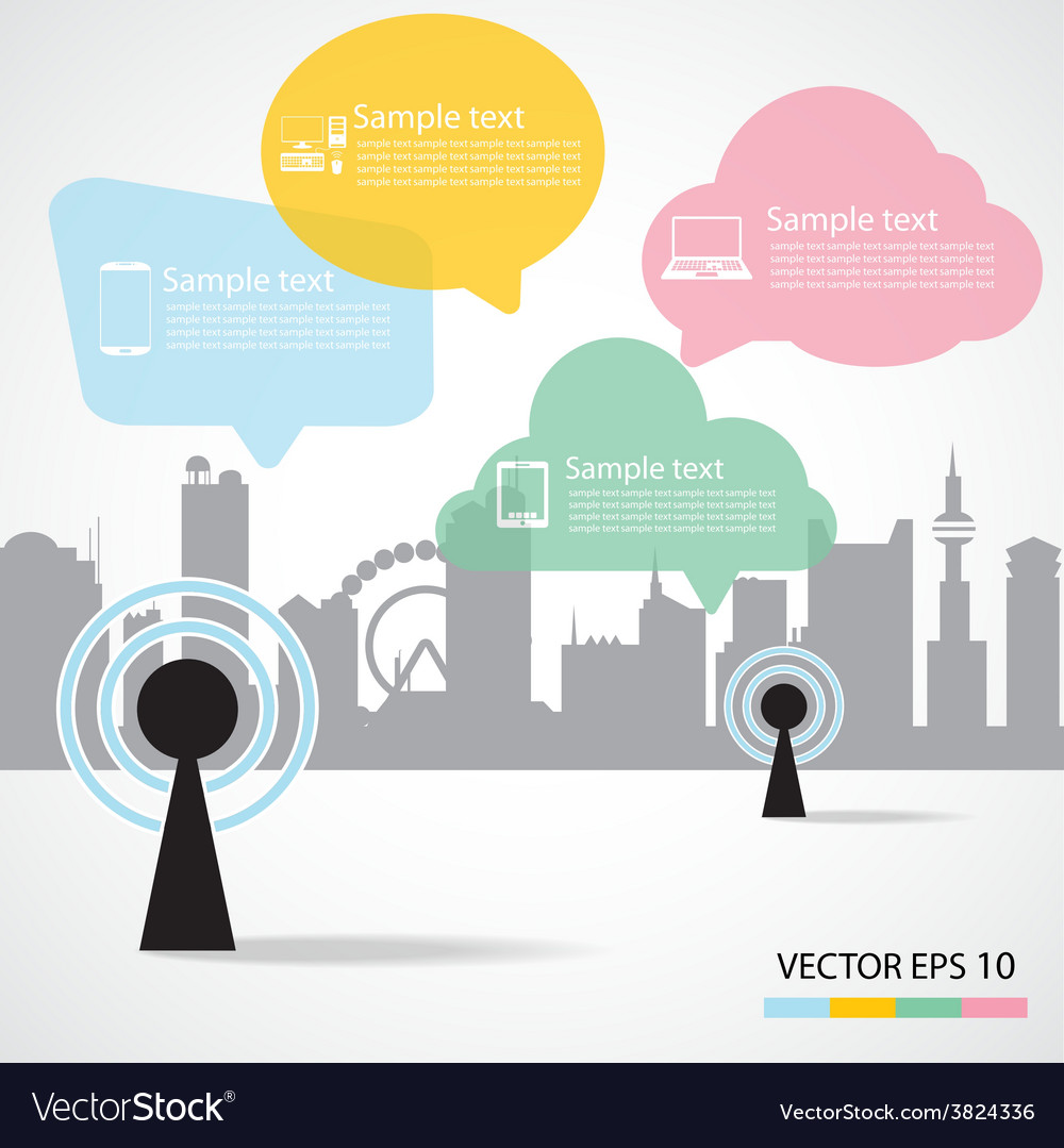 Antenna and city background vector | Price: 1 Credit (USD $1)