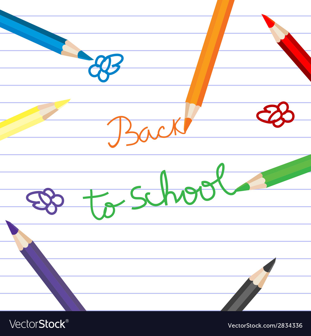 Back to school with colored pencils over notebook vector