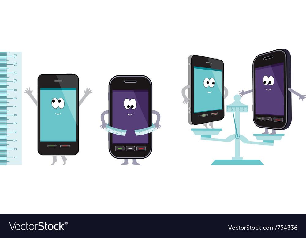 Comparative characteristics of phones vector | Price: 1 Credit (USD $1)