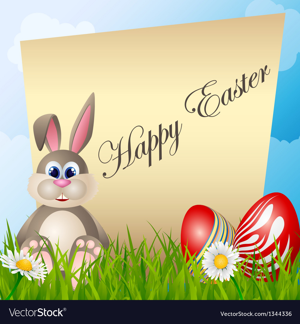 Easter card with cartoon bunny and eggs vector | Price: 1 Credit (USD $1)
