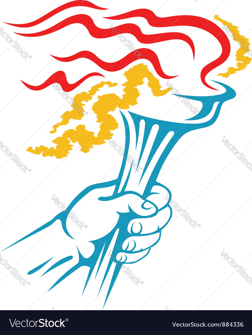 Flaming torch in hand for sports vector | Price: 1 Credit (USD $1)
