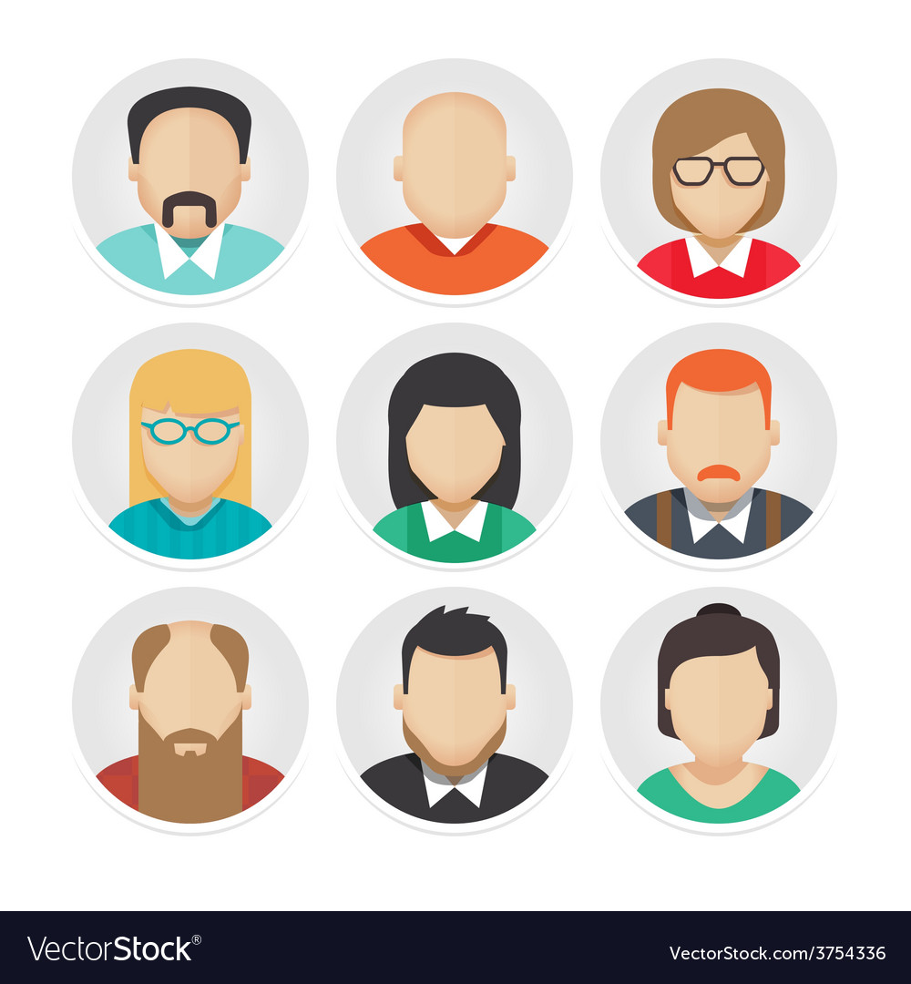 Flat avatar character icons set 2 vector | Price: 1 Credit (USD $1)