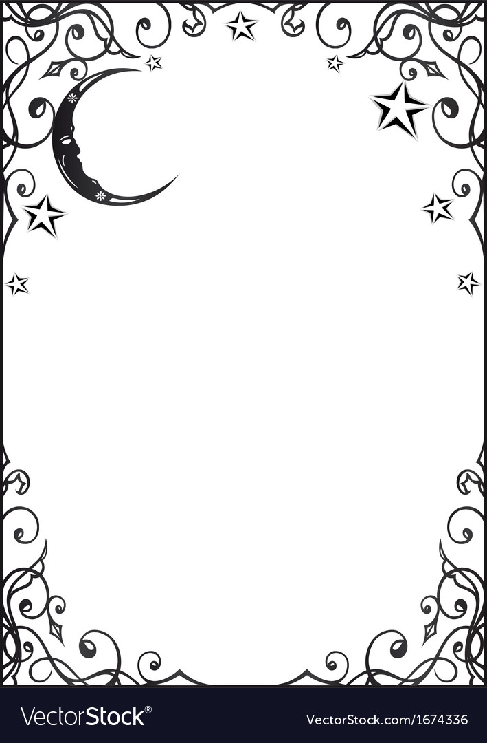 Frame moon and stars vector | Price: 1 Credit (USD $1)