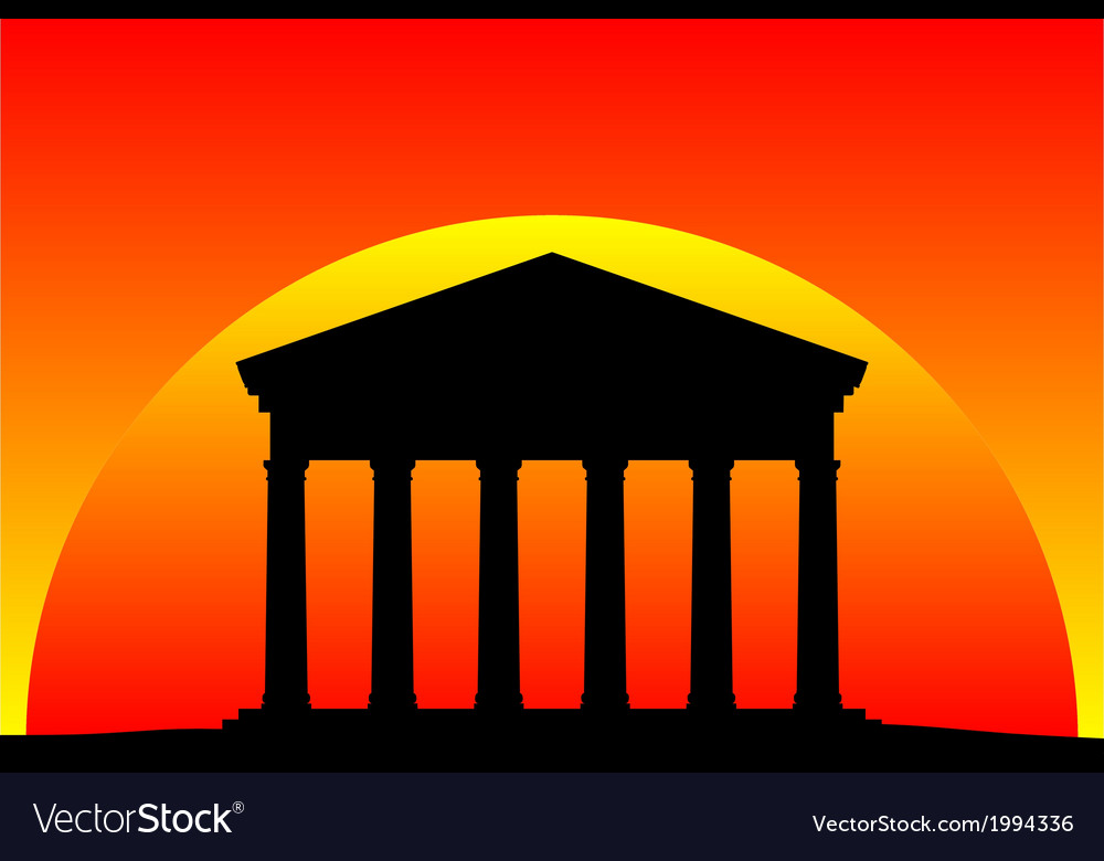Greek temple at sunset vector | Price: 1 Credit (USD $1)