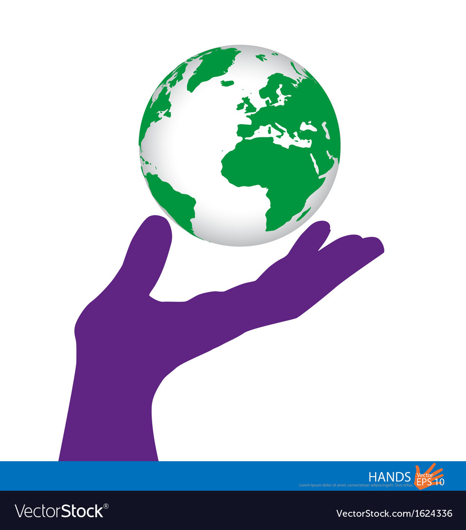 Hand holding a green earth vector | Price: 1 Credit (USD $1)