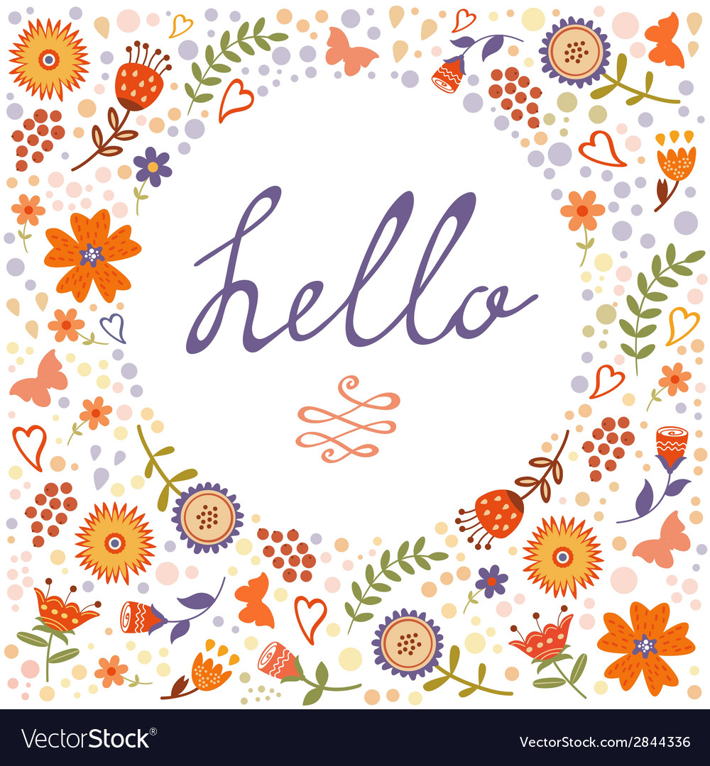 Hello card with decorative floral frame vector | Price: 1 Credit (USD $1)