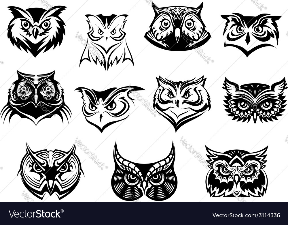 Large set of black and white owl heads vector | Price: 1 Credit (USD $1)