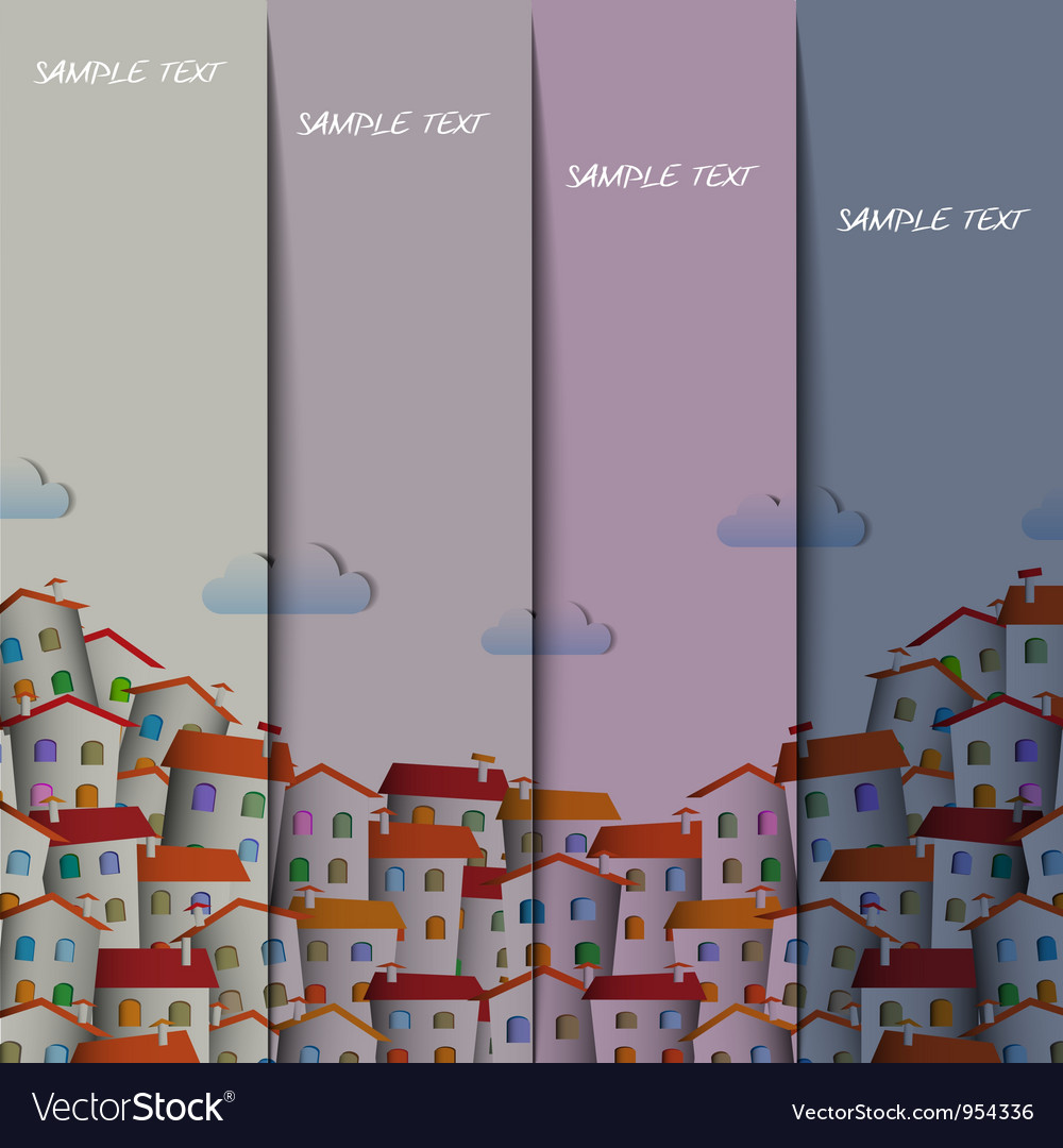 Layout design with colorful town vector | Price: 1 Credit (USD $1)