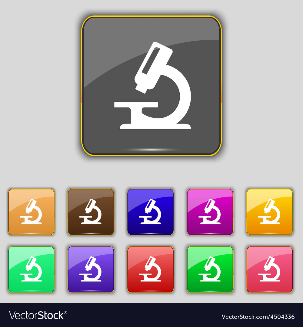 Microscope icon sign set with eleven colored vector | Price: 1 Credit (USD $1)