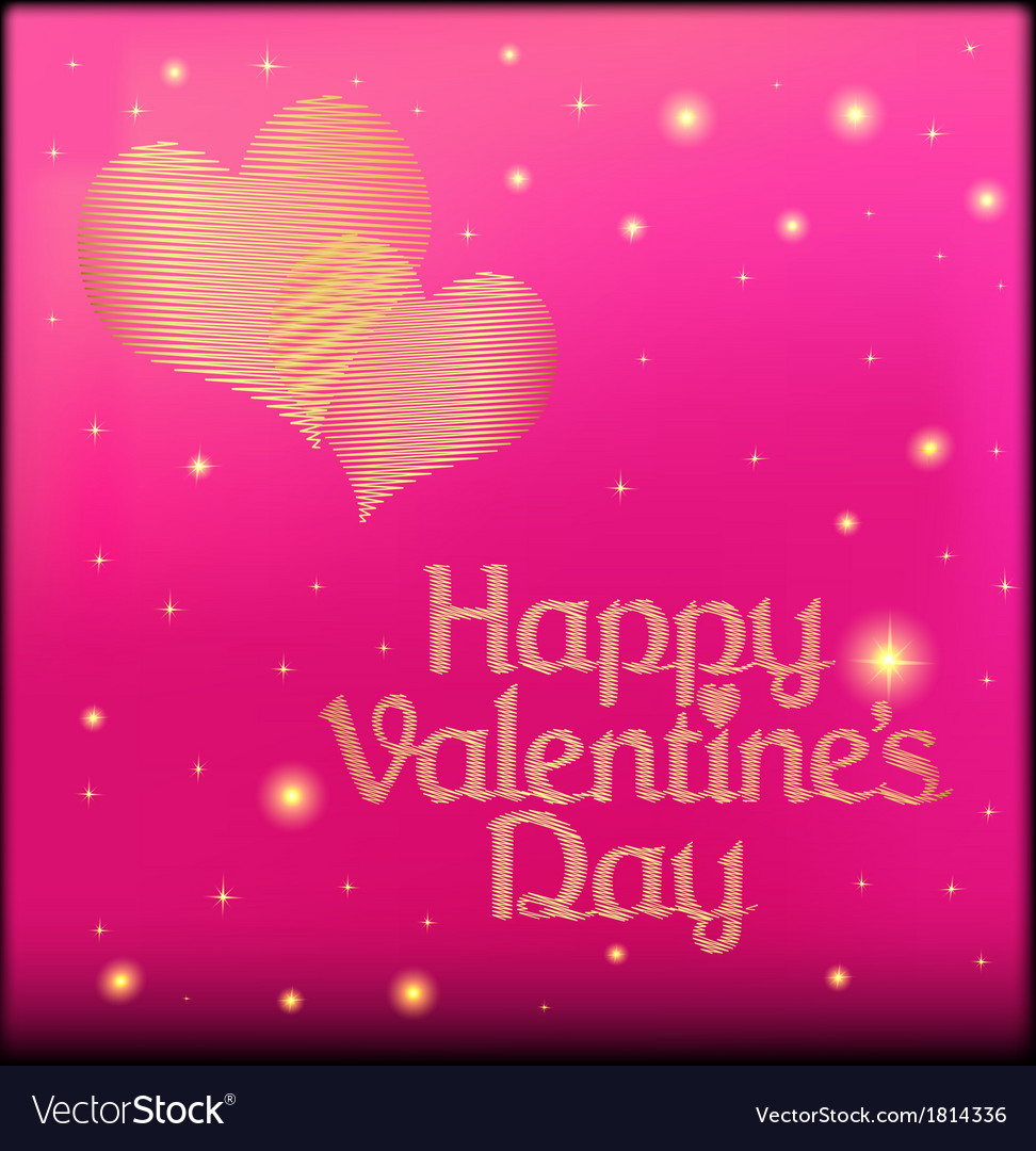 Pink postcard on valentines day with the heart of vector | Price: 1 Credit (USD $1)