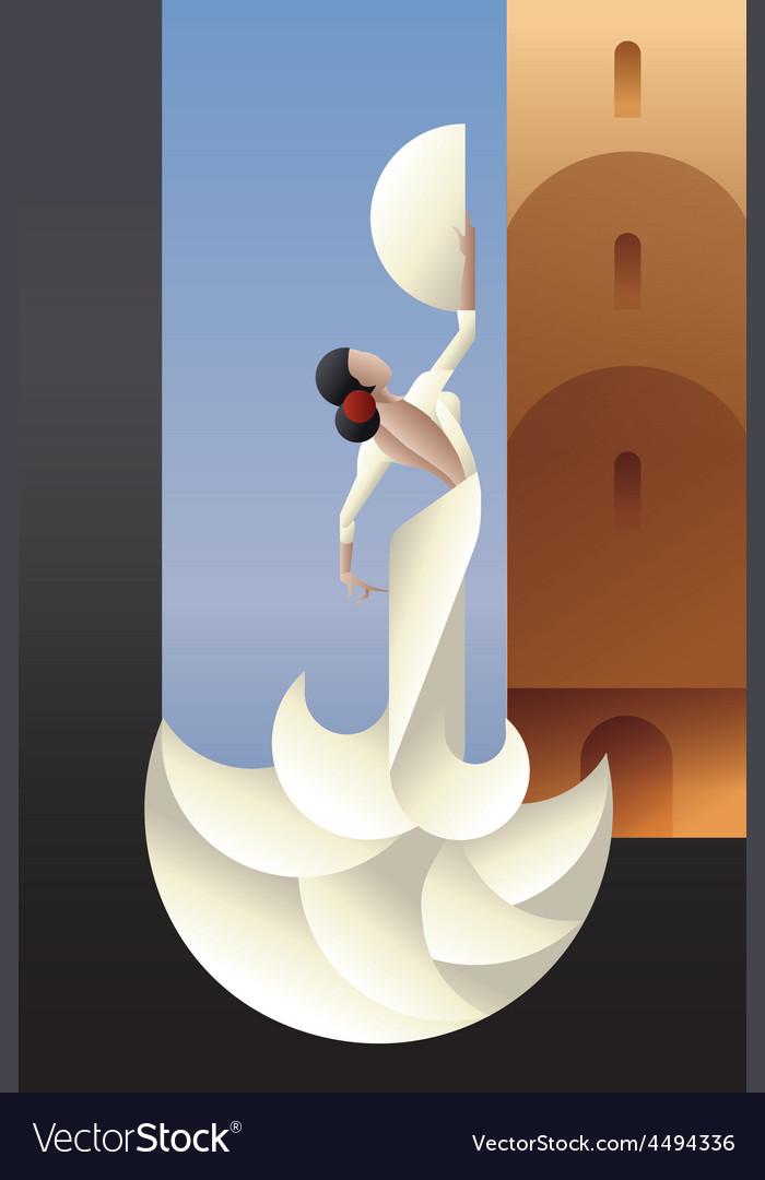 Spain flamenco dancer on city landscape vector | Price: 1 Credit (USD $1)