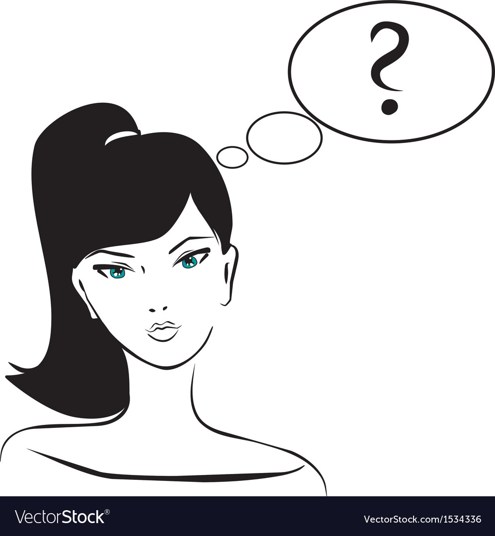 Thinking girl with question mark in bubble speech vector | Price: 1 Credit (USD $1)