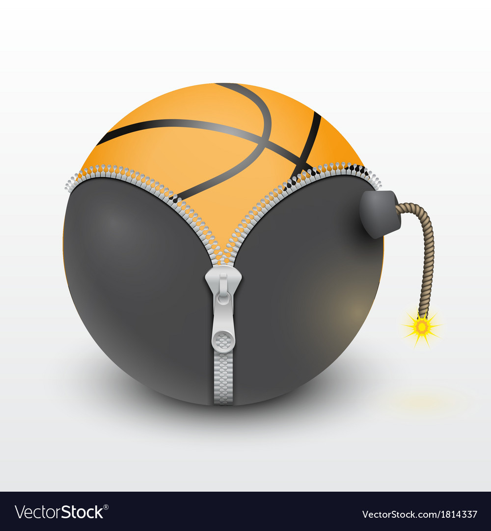 Basketball ball inside a burning bomb vector | Price: 1 Credit (USD $1)