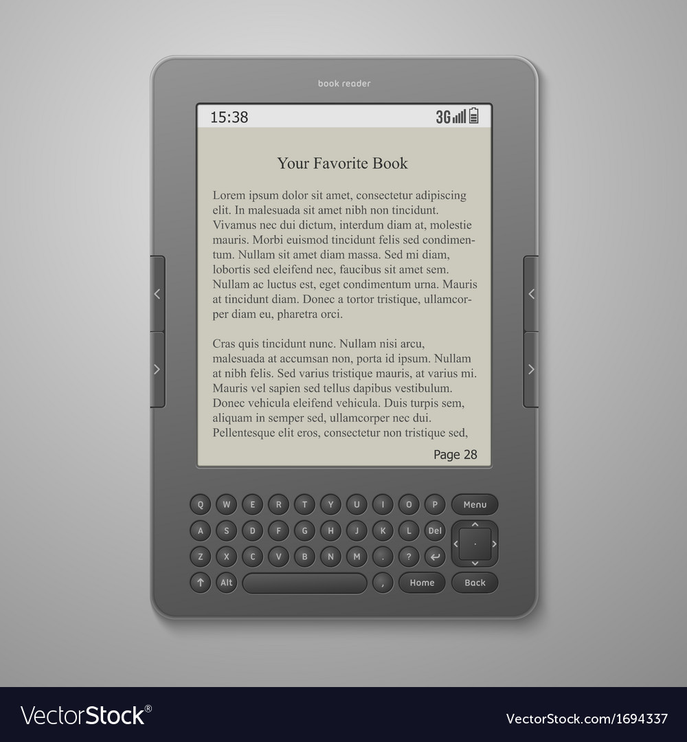 Black cool digital keybord book reader vector | Price: 1 Credit (USD $1)
