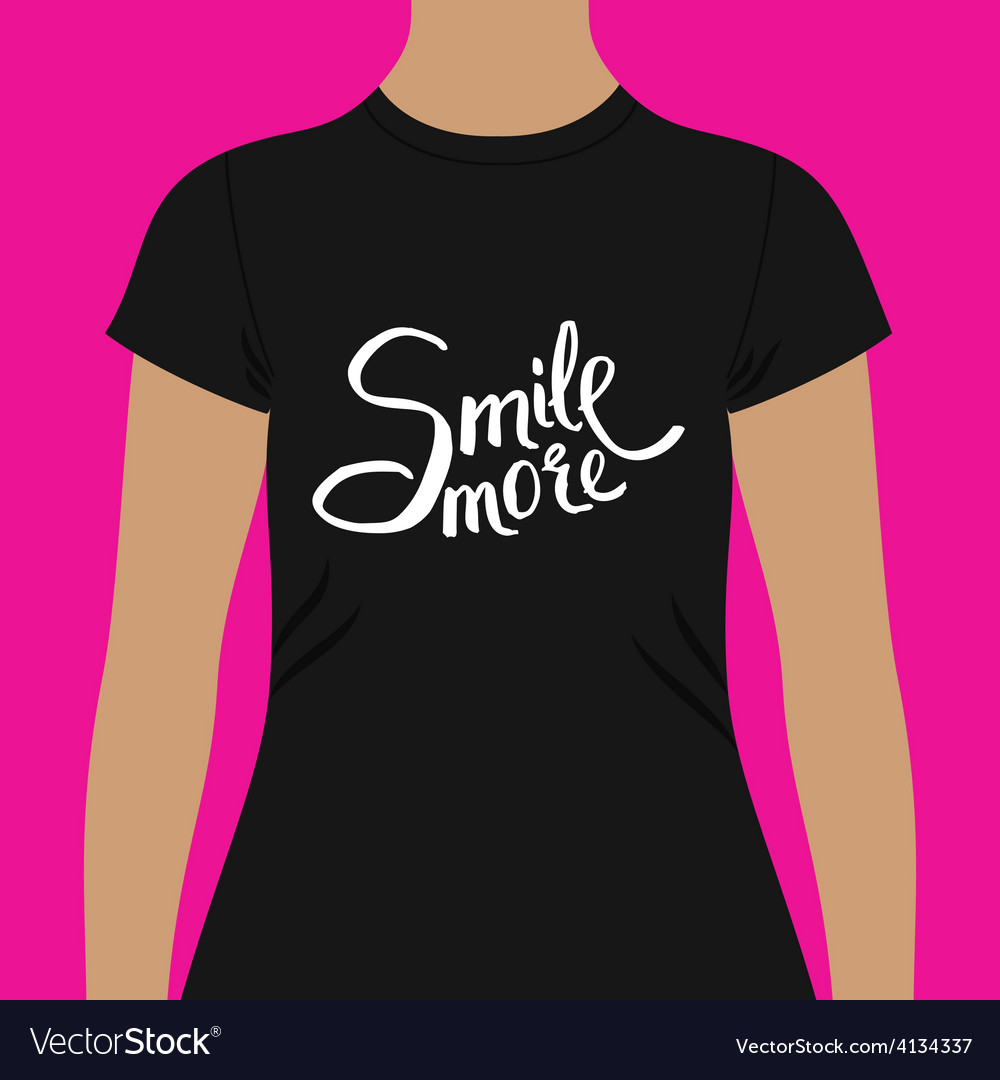 Black woman shirt with conceptual smile more texts vector | Price: 1 Credit (USD $1)