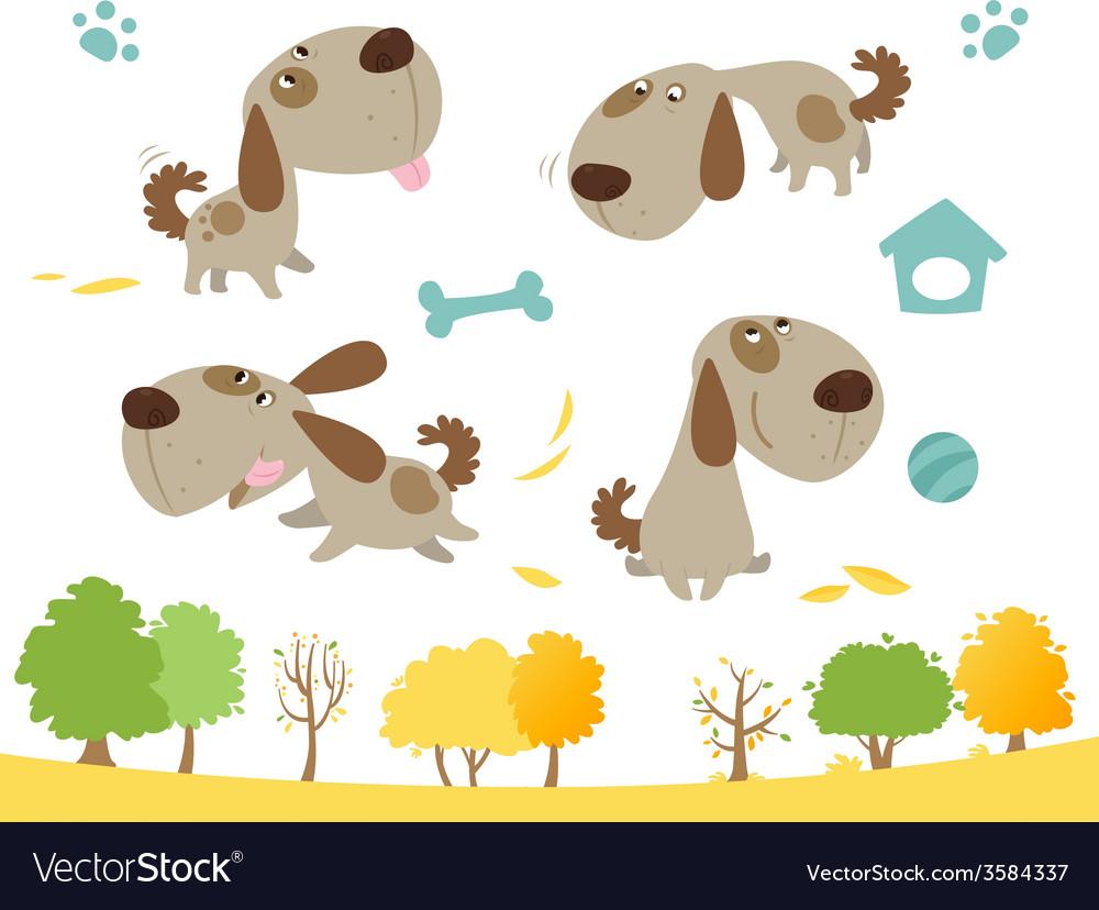 Cartoon dog collection vector | Price: 1 Credit (USD $1)