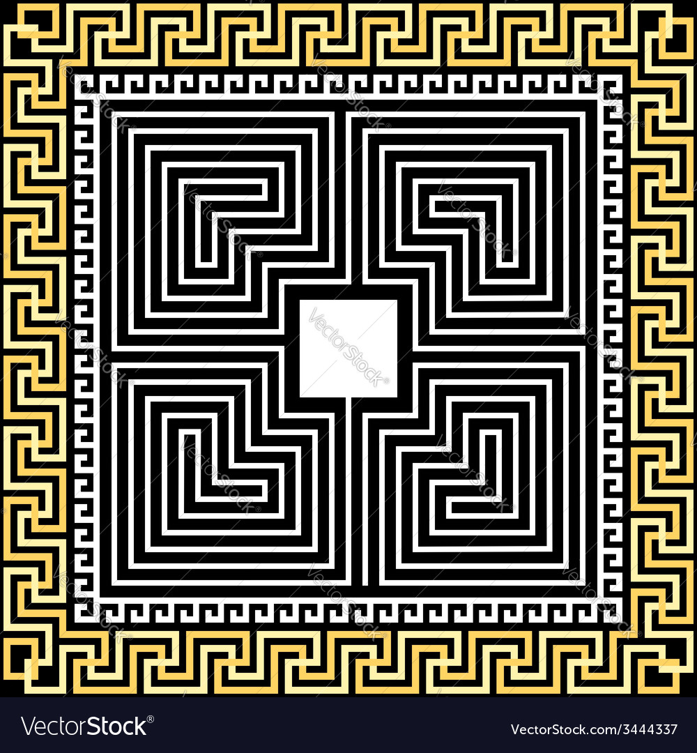 Gold greek ornament meander and labyrinth vector | Price: 1 Credit (USD $1)