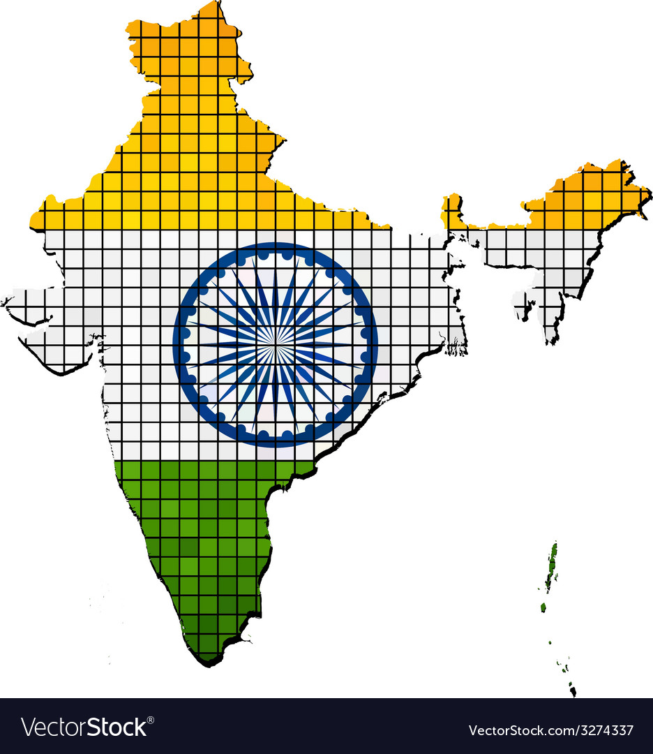 India map with flag inside vector | Price: 1 Credit (USD $1)