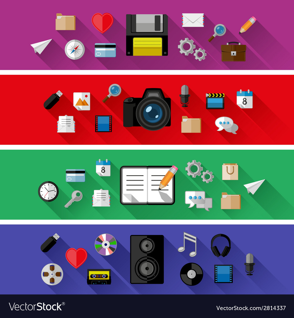 Set of web and business concepts vector