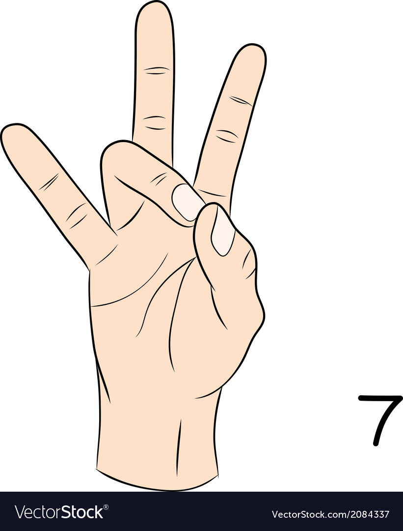 Sign language number 7 vector | Price: 1 Credit (USD $1)