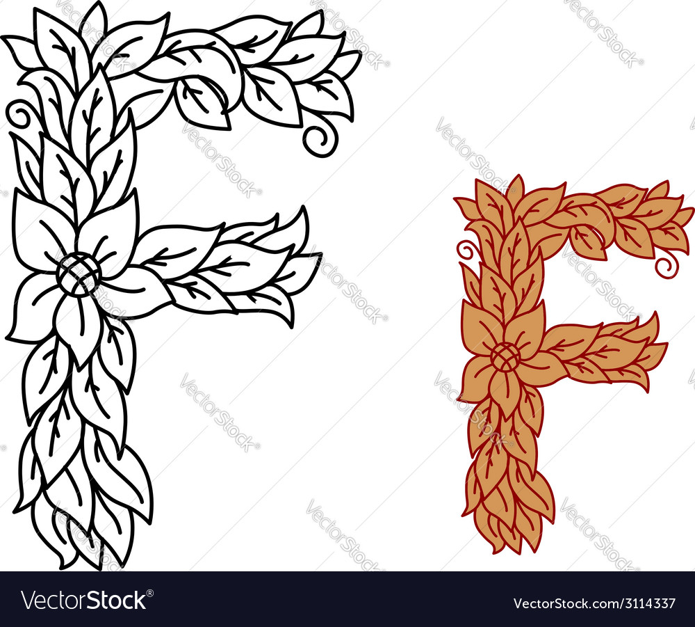Uppercase letter f in a floral design with leaves vector | Price: 1 Credit (USD $1)